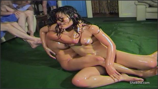 Realsexpass.com- Tiny Thai girls wrestle with oil before orgy