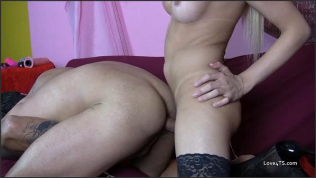 Realsexpass.com- Blonde shemale and a guy hard together